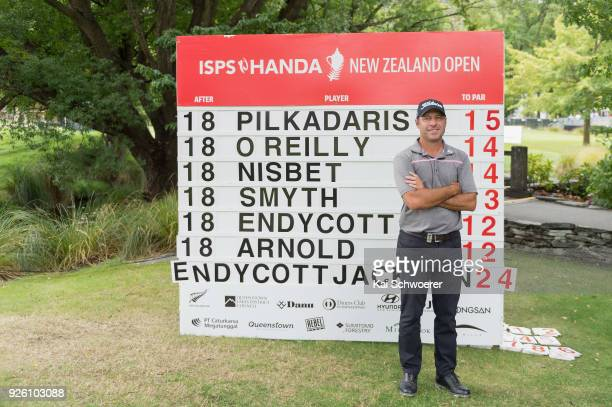 Terry Pilkadaris of Australia poses in front of the leaderboard during day two of the ISPS Handa New Zealand Golf Open at Millbrook Resort on March 2...