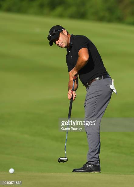 Terry Pilkadaris of Australia putts during Day Three at the Fiji International Golf Tournament on August 4 2018 in Natadola Fiji