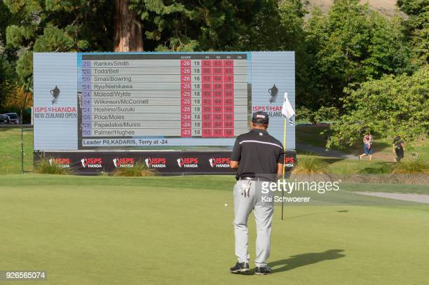 Terry Pilkadaris of Australia putts on the 18th hole during day three of the ISPS Handa New Zealand Golf Open at Millbrook Golf Resort on March 3...