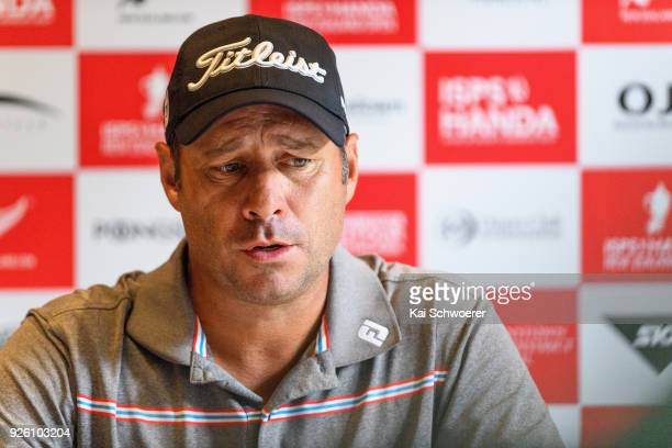 Terry Pilkadaris of Australia speaks to the media during day two of the ISPS Handa New Zealand Golf Open at Millbrook Resort on March 2 2018 in...