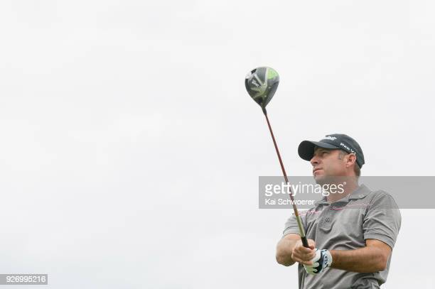 Terry Pilkadaris of Australia tees off during day four of the ISPS Handa New Zealand Golf Open at Millbrook Golf Resort on March 4 2018 in Queenstown...