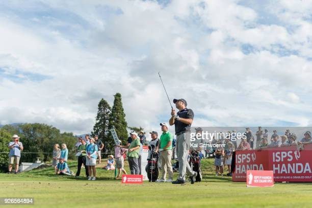 Terry Pilkadaris of Australia tees off during day three of the ISPS Handa New Zealand Golf Open at Millbrook Golf Resort on March 3 2018 in...