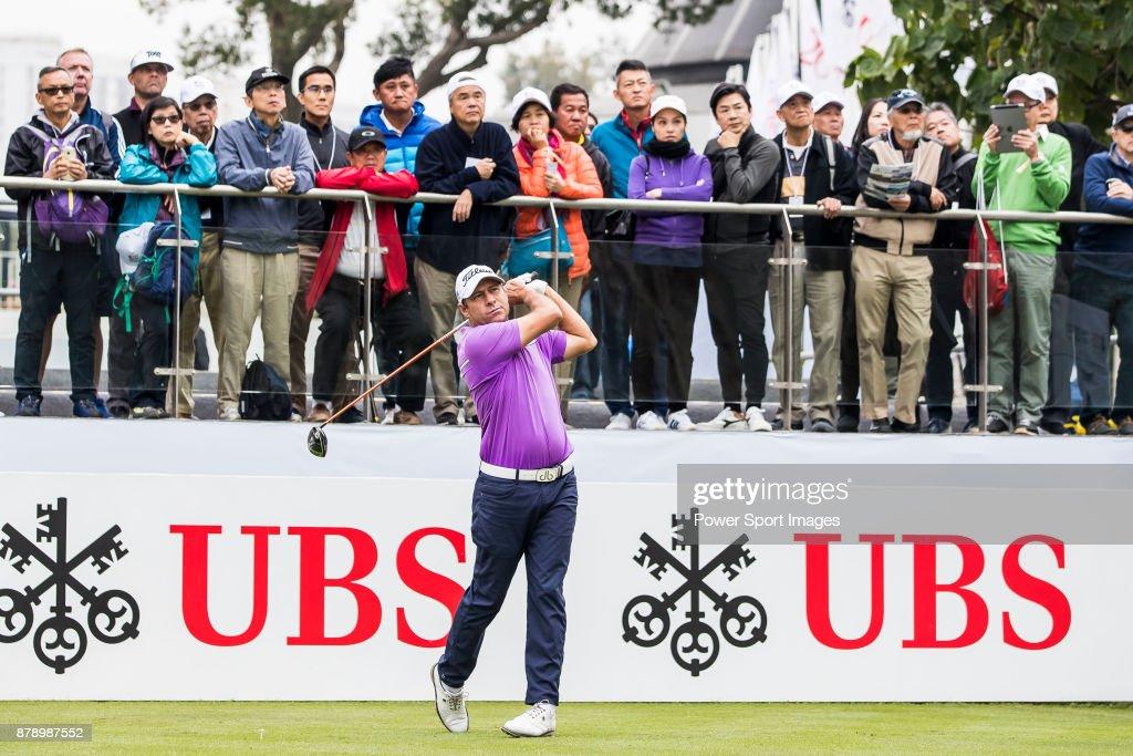 Terry Pilkadaris of Australia tees off during round three of the UBS Hong Kong Open at The Hong Kong Golf Club on November 25, 2017 in Hong Kong, Hong Kong.