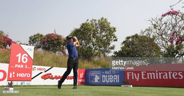 Terry Pilkadaris of Australia tees off on the 16th hole during day one of the Hero Indian Open at Dlf Golf and Country Club on March 8 2018 in New...