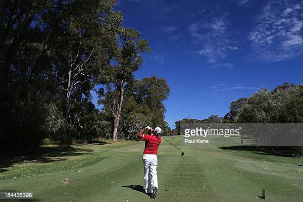 Terry Pilkadaris of Australia tees off on the 4th hole during round three of the Perth International at Lake Karrinyup Country Club on October 20...