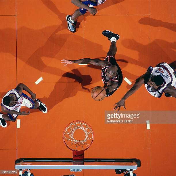 Terry Porter of the Miami Heat shoots a layup against the New York Knicks in Game Four of the Eastern Conference Quarterfinals during the 1999 NBA...