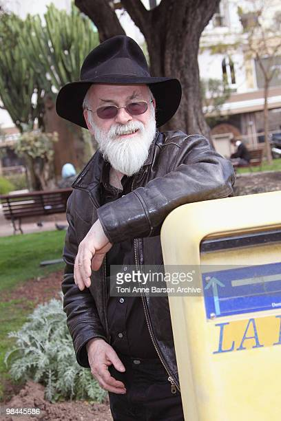 Terry Pratchett attends a photocall during MIPTV at Palais des festivals on April 13 2010 in Cannes France