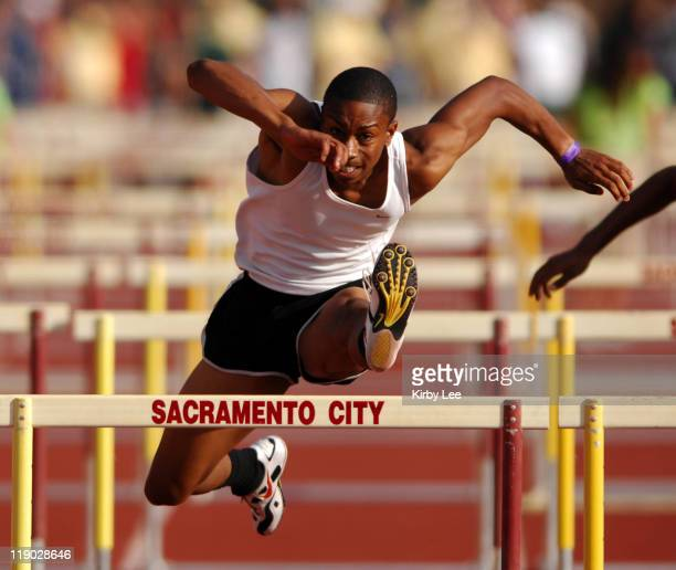 Terry Prentice of Diamond Ranch High wins 110meter hurdle heat in 1368 in the CIF State Track Field Championships at Hughes Stadium in Sacramento...