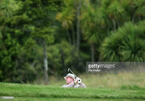 Terry Price of Australia plays out of a bunker during the New Zealand Open Pro Am at the Gulf Harbour Country Club on the Whangaparoa Peninsula...