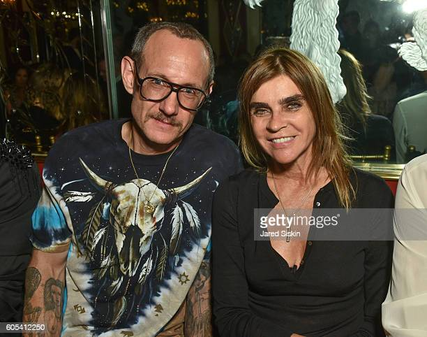 Terry Richardson and Corine Roitfeld attend Brandon Maxwell Front Row September 2016 New York Fashion Week at Russian Tea Room on September 13 2016...