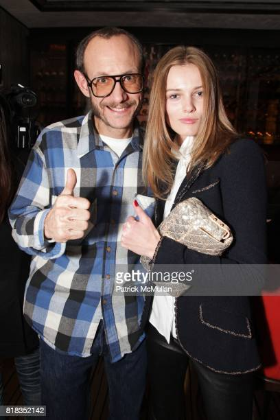 Terry Richardson and Edita Vilkeviciute attend CHANEL DINNER IN HONOR OF VANESSA PARADIS FOR ROUGE COCO at the Mark Hotel on February 9 2010 in New...