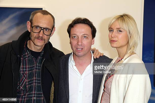 Terry Richardson Emmanuel Perrotin and AnneSophie Mignaux attend Art Exhibition at Galerie Perrotin as part of the Paris Fashion Week Womenswear...