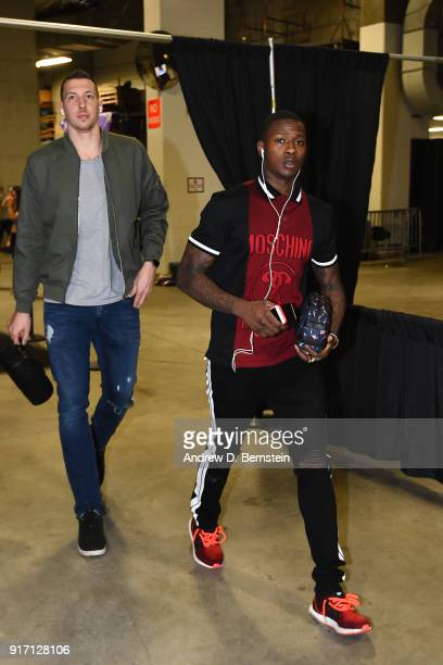 Terry Rozier of the Boston Celtics and Daniel Theis of the Boston Celtics arrive at the stadium before the game against the Golden State Warriors on...