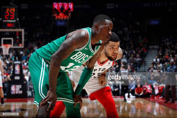 Terry Rozier of the Boston Celtics and Fred VanVleet of the Toronto Raptors looks on during the game on April 4 2018 at the Air Canada Centre in...