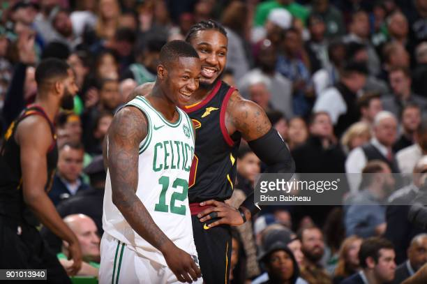 Terry Rozier of the Boston Celtics and Jae Crowder of the Cleveland Cavaliers talk during the game on January 3 2018 at the TD Garden in Boston...