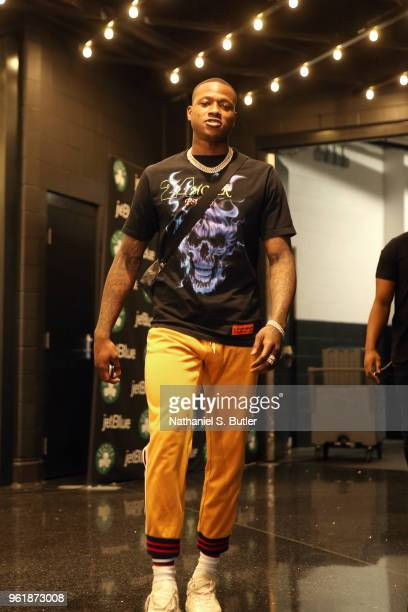 Terry Rozier of the Boston Celtics arrives before Game Five of the Eastern Conference Finals against the Cleveland Cavaliers during the 2018 NBA...