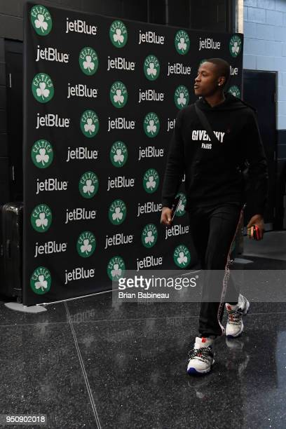 Terry Rozier of the Boston Celtics arrives to the arena prior to Game Five of Round One of the 2018 NBA Playoffs against the Milwaukee Bucks on April...