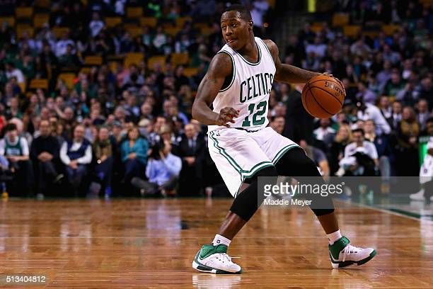 Terry Rozier of the Boston Celtics carries the ball against the Portland Trail Blazers during the fourth quarter at TD Garden on March 2 2016 in...