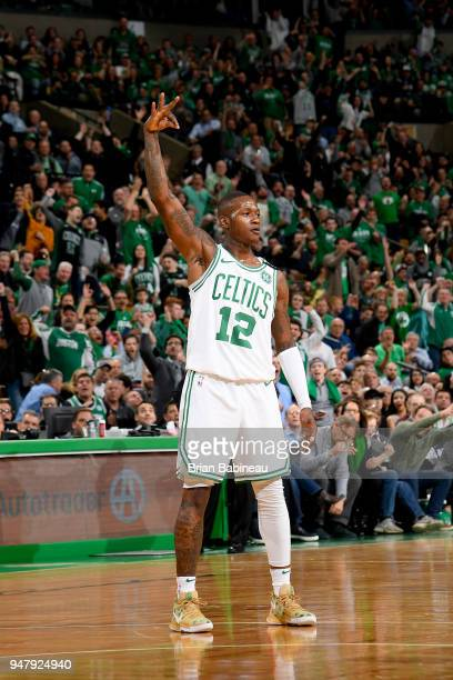 Terry Rozier of the Boston Celtics celebrates a three point shot during the game against the Milwaukee Bucks in Game Two of Round One of the 2018 NBA...