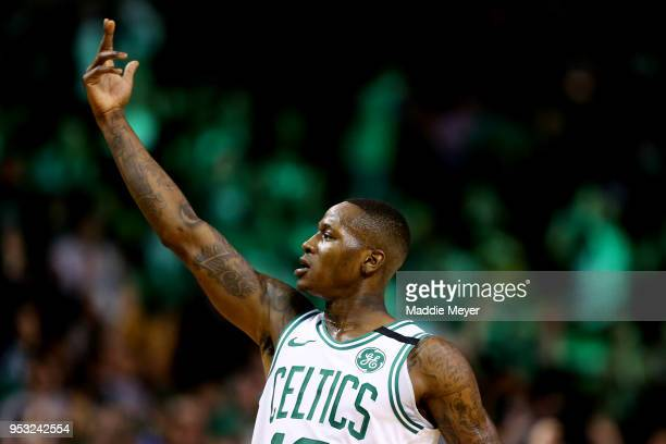 Terry Rozier of the Boston Celtics celebrates after hitting a three point shot against the Philadelphia 76ers during the first quarter of Game One of...