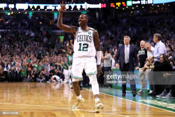 Terry Rozier of the Boston Celtics celebrates after hitting a three point shot against the Philadelphia 76ers during Game Two of the Eastern...