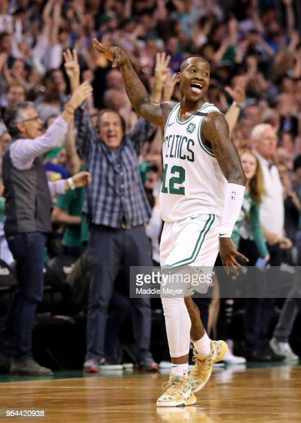 Terry Rozier of the Boston Celtics celebrates after scoring a three pointer against the Philadelphia 76ers during the second quarter of Game Two of...
