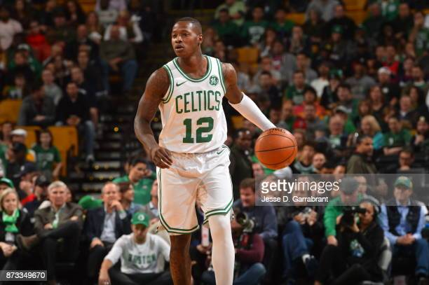 Terry Rozier of the Boston Celtics dribbles up court during the game against the Toronto Raptors on November 12 2017 at the TD Garden in Boston...