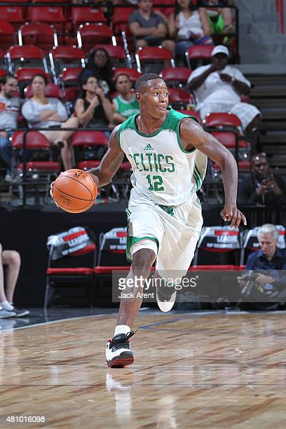 Terry Rozier of the Boston Celtics drives to the basket against the Portland Trail Blazers during the game on July 16 2015 at Thomas And Mack Center...
