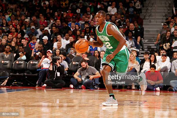 Terry Rozier of the Boston Celtics drives to the basket against the Detroit Pistons during the game on November 19 2016 at The Palace of Auburn Hills...
