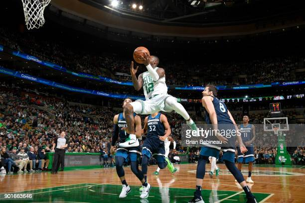 Terry Rozier of the Boston Celtics drives to the basket against the Minnesota Timberwolves on January 5 2018 at the TD Garden in Boston Massachusetts...