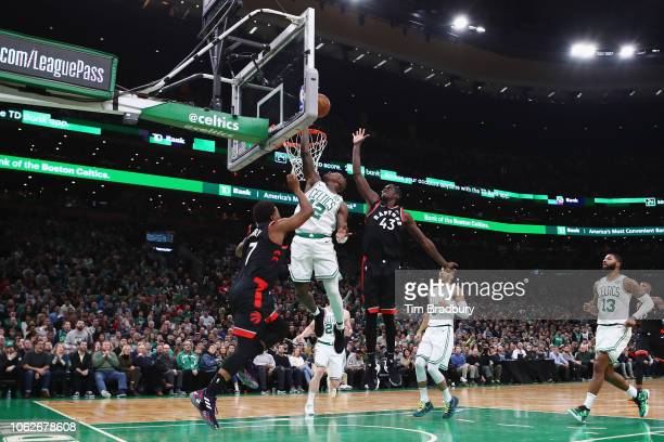 Terry Rozier of the Boston Celtics drives to the basket during the second half against the Toronto Raptors at TD Garden on November 16 2018 in Boston...