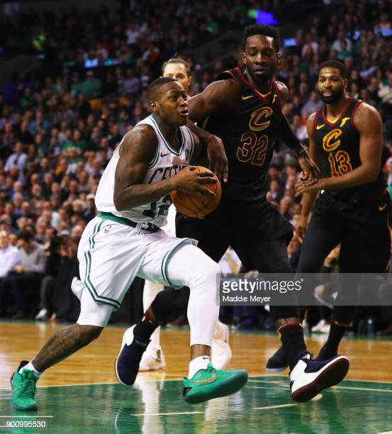 Terry Rozier of the Boston Celtics drives to the basket past Jeff Green of the Cleveland Cavaliers during the first quarter at TD Garden on January 3...