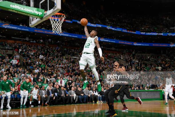 Terry Rozier of the Boston Celtics dunks against the Cleveland Cavaliers on January 3 2018 at the TD Garden in Boston Massachusetts NOTE TO USER User...