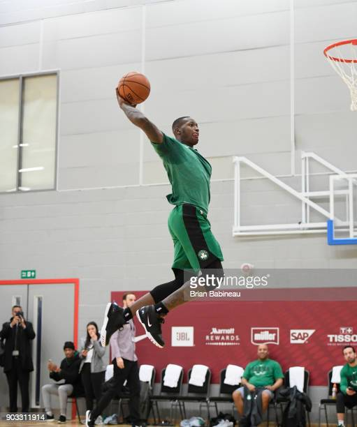 Terry Rozier of the Boston Celtics dunks during practice as part of the 2018 NBA London Global Game at Citysport on January 10 2018 in London England...