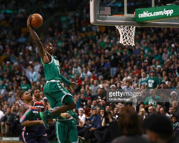 Terry Rozier of the Boston Celtics dunks during the second quarter of the game against the Washington Wizards at TD Garden on December 25 2017 in...