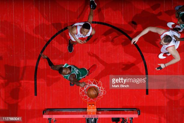 Terry Rozier of the Boston Celtics dunks the ball against the Toronto Raptors on February 26 2019 at the Scotiabank Arena in Toronto Ontario Canada...
