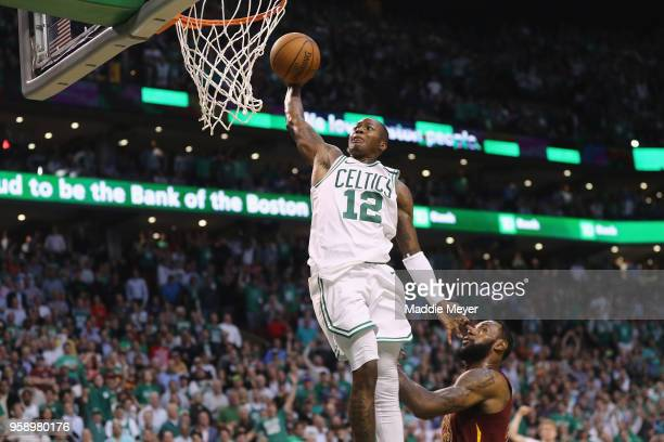 Terry Rozier of the Boston Celtics dunks the ball in the second half against the Cleveland Cavaliers during Game Two of the 2018 NBA Eastern...