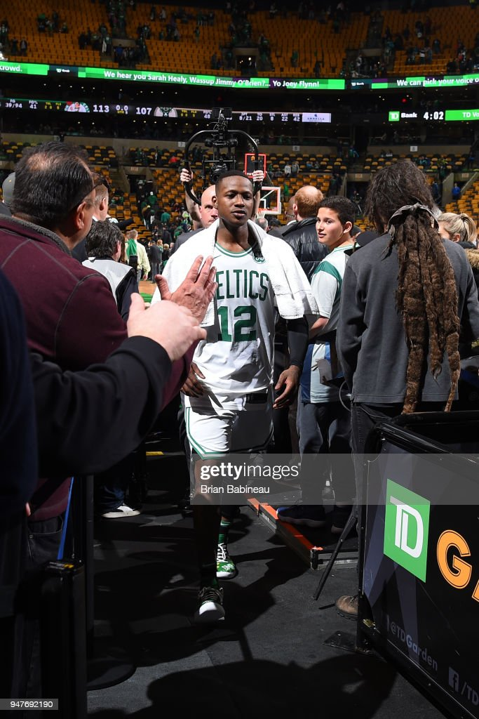 Terry Rozier #12 of the Boston Celtics exits the court after the game against the Milwaukee Bucks in Game One of Round One during the 2018 NBA Playoffs on April 15, 2018 at TD Garden in Boston, Massachusetts.