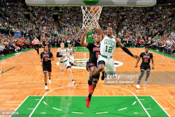 Terry Rozier of the Boston Celtics goes for a dunk during the game against the Chicago Bulls in Game Five of the Eastern Conference Quarterfinals of...