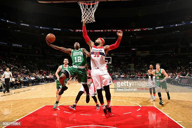 Terry Rozier of the Boston Celtics goes for the layup during the game against the Washington Wizards on January 25 2016 at Verizon Center in...