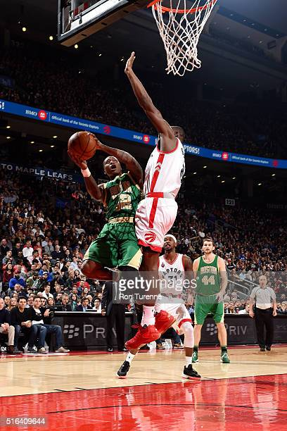 Terry Rozier of the Boston Celtics goes for the layup during the game against the Toronto Raptors on March 18 2016 at the Air Canada Centre in...