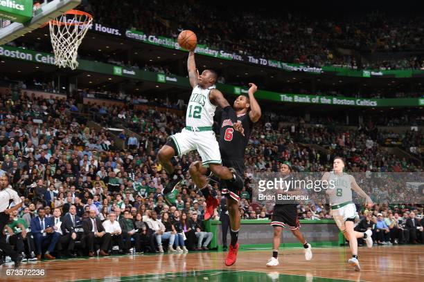 Terry Rozier of the Boston Celtics goes to the basket against the Chicago Bulls during Game Five of the Eastern Conference Quarterfinals of the 2017...