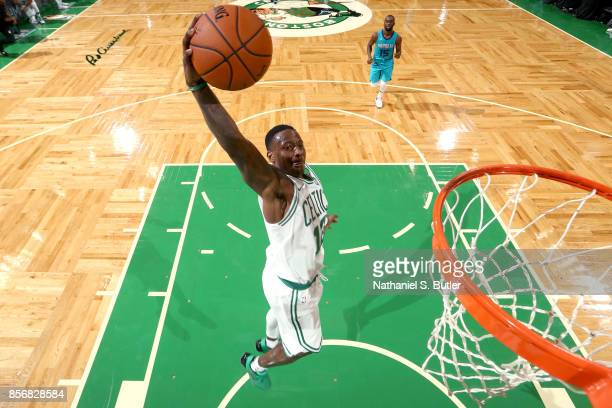 Terry Rozier of the Boston Celtics goes to the basket against the Charlotte Hornets on October 2 2017 at the TD Garden in Boston Massachusetts NOTE...