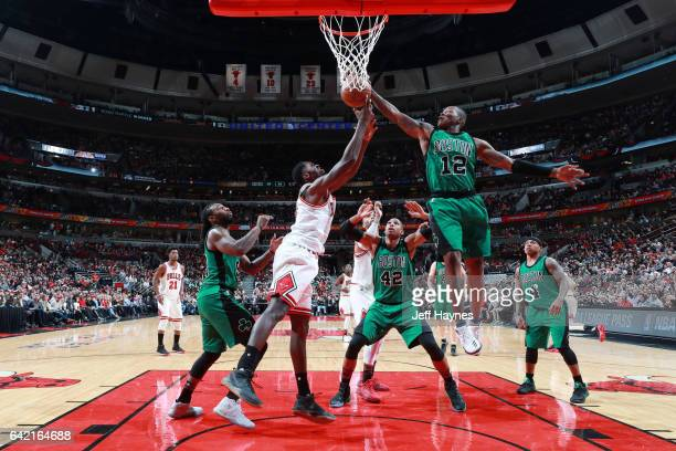 Terry Rozier of the Boston Celtics grabs the rebound against the Chicago Bulls during the game on February 16 2017 at the United Center in Chicago...