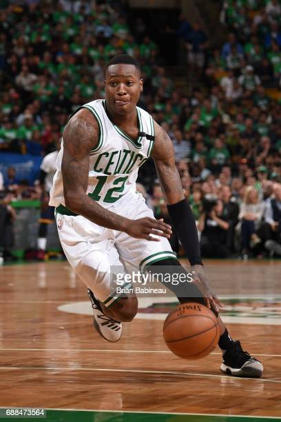 Terry Rozier of the Boston Celtics handles the ball against the Cleveland Cavaliers in Game Five of the Eastern Conference Finals of the 2017 NBA...