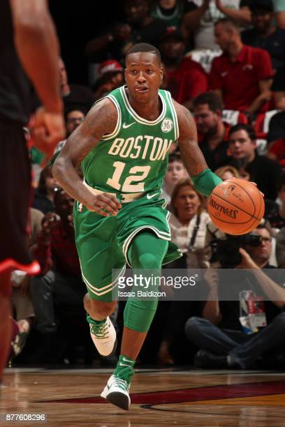 Terry Rozier of the Boston Celtics handles the ball against the Miami Heat on November 22 2017 at AmericanAirlines Arena in Miami Florida NOTE TO...