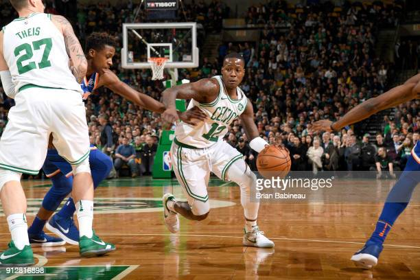 Terry Rozier of the Boston Celtics handles the ball against the New York Knicks on January 31 2018 at the TD Garden in Boston Massachusetts NOTE TO...