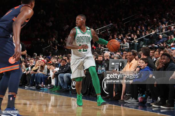 Terry Rozier of the Boston Celtics handles the ball against the New York Knicks on February 24 2018 at Madison Square Garden in New York New York...