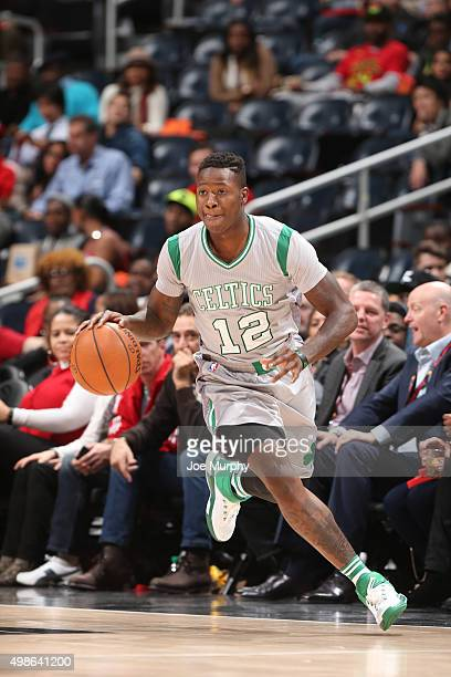 Terry Rozier of the Boston Celtics handles the ball against the Atlanta Hawks on November 24 2015 at Phillips Arena in Atlanta Georgia NOTE TO USER...