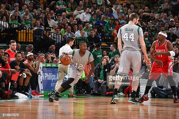 Terry Rozier of the Boston Celtics handles the ball against the Houston Rockets on March 11 2016 at the TD Garden in Boston Massachusetts NOTE TO...